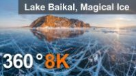 360 video, Lake Baikal, Magical Ice, Russia. 8K aerial video